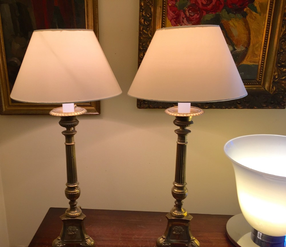 1850 Pair Ets Table Lamps Bronze